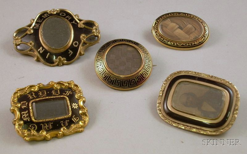 Five Victorian Enamel Decorated Memorial Brooches
