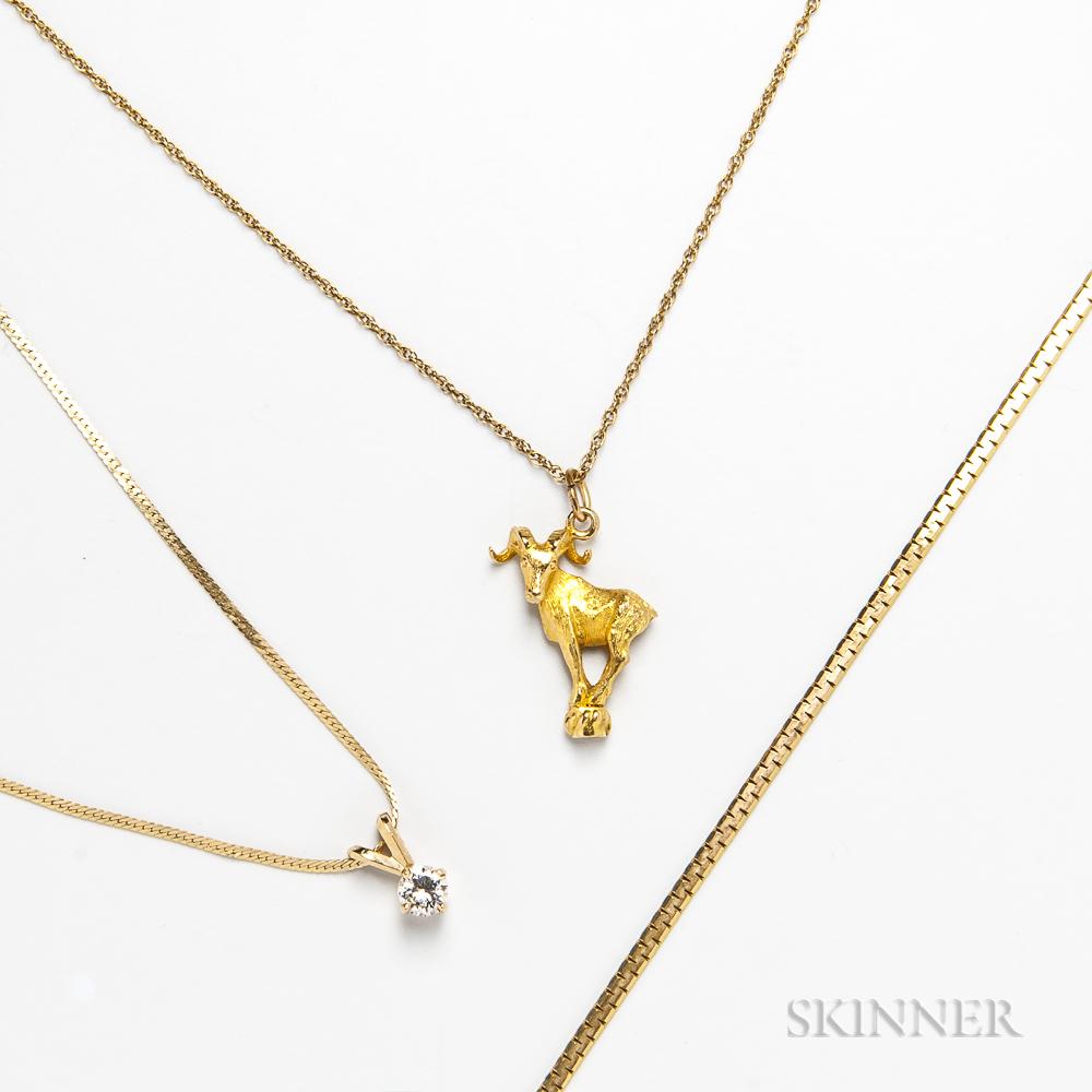 Three 14kt Gold Chains