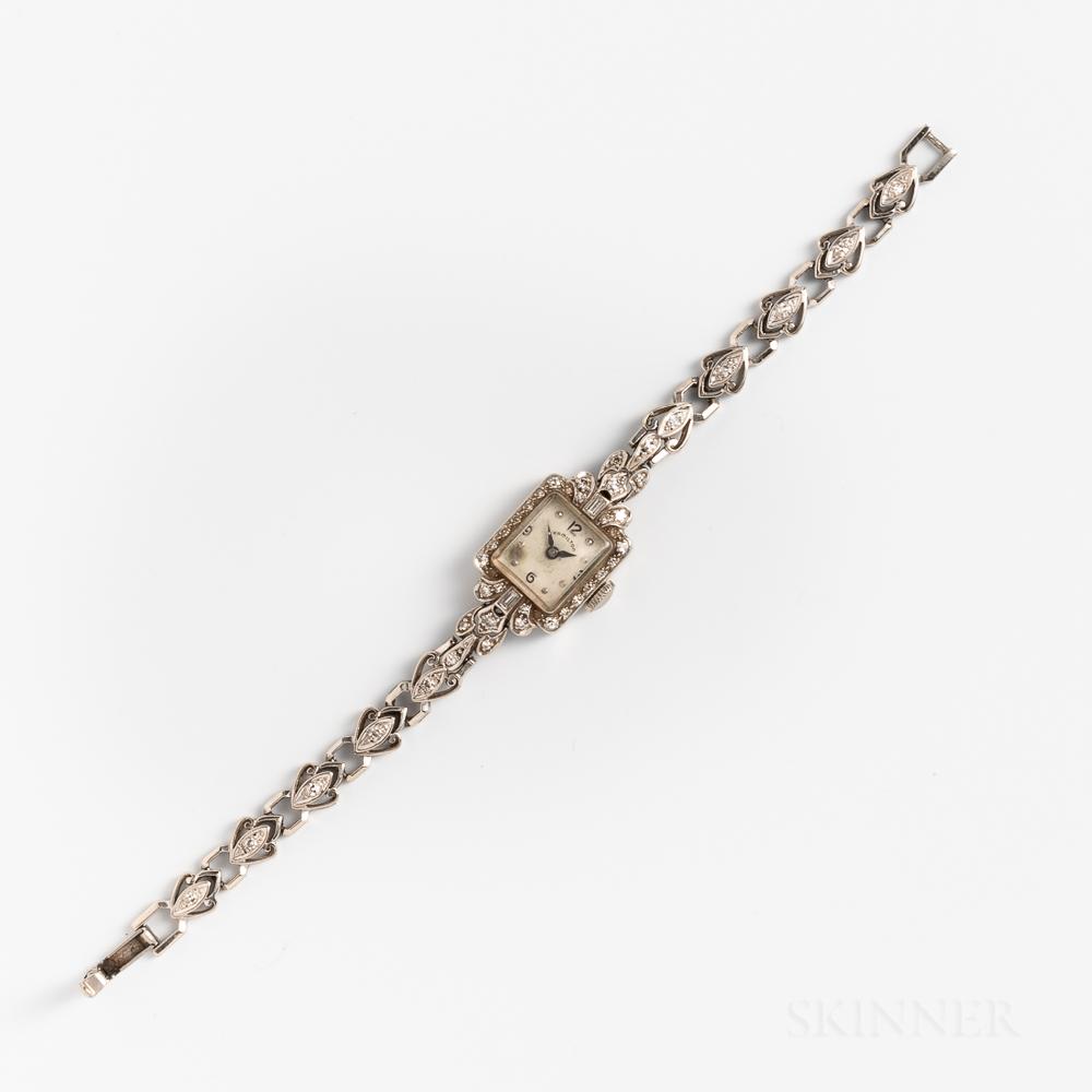 Hamilton 14kt White Gold and Diamond Lady's Wristwatch