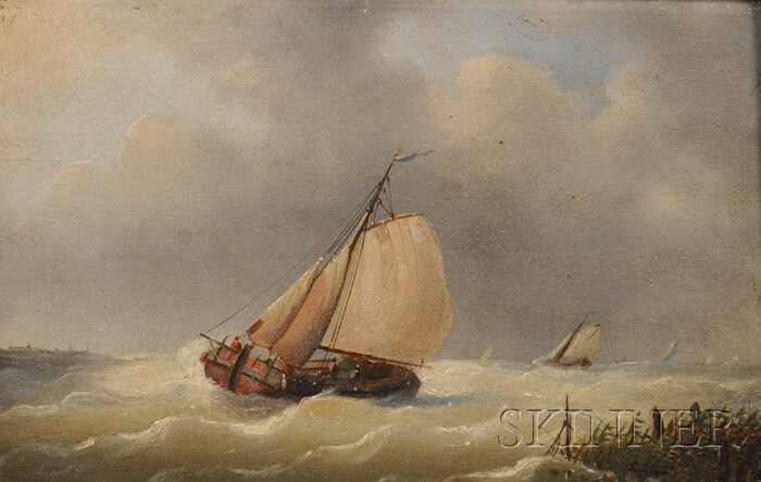 Attributed to Louis Charles Verboeckhoven  (Dutch, 1802-1889)      A Dutch Barge Running for Shelter