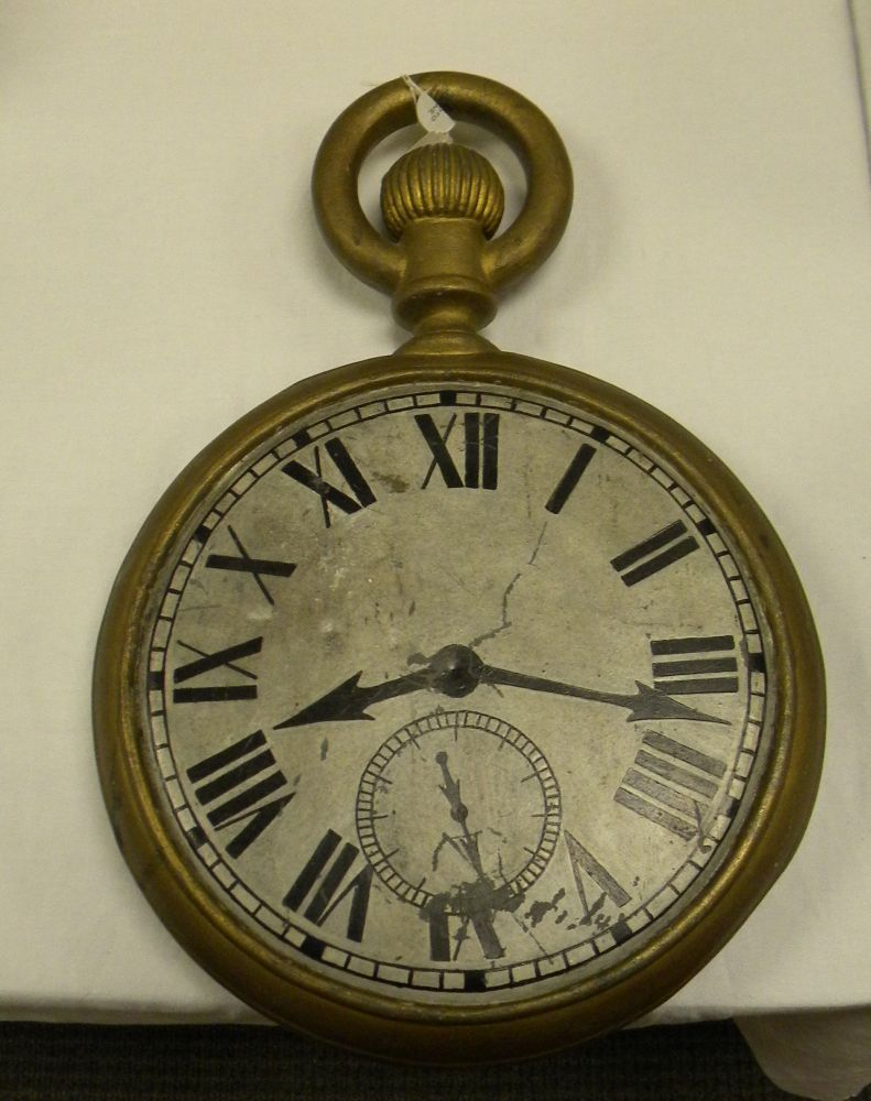 Double-sided Painted Cast Iron and Sheet Tin Watch-form Jeweler's Trade Sign