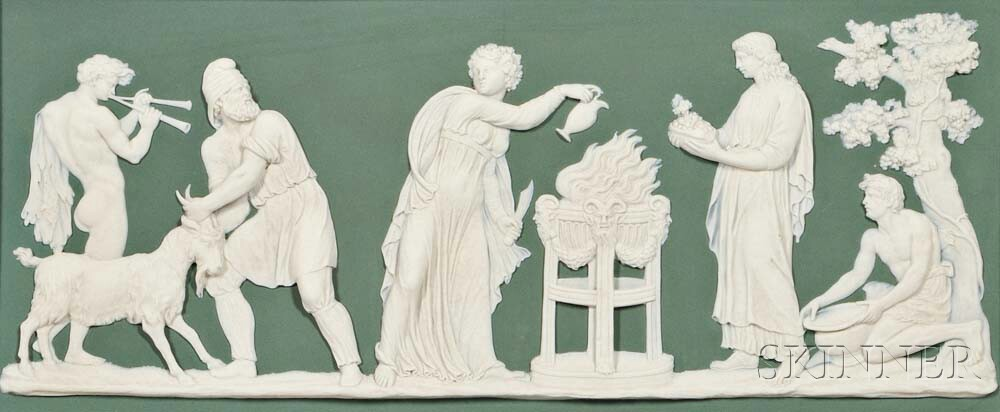 Wedgwood Green Jasper Dip Sacrifice to Bacchus   Plaque