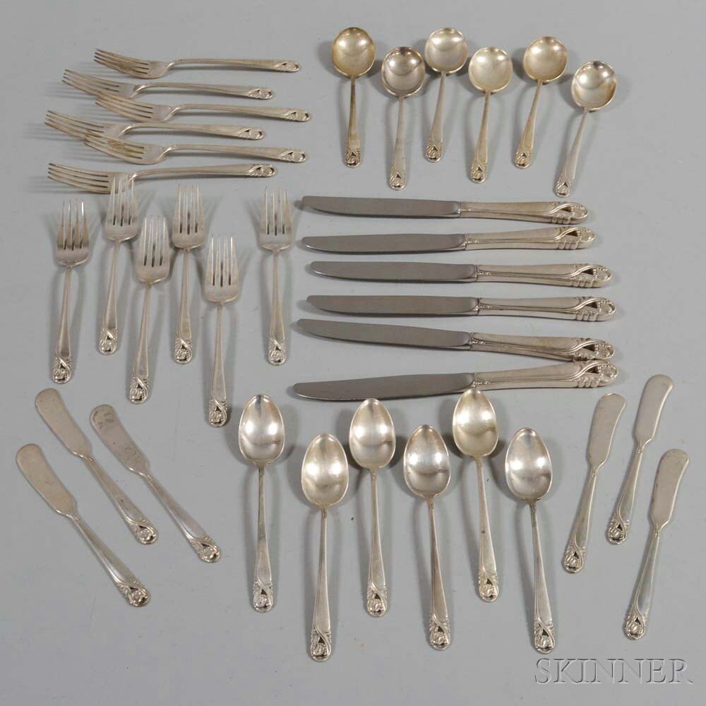 """International Sterling """"Spring Glory"""" Partial Flatware Service for Six"""