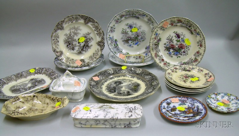 Fourteen Pieces of Mulberry Transfer Ironstone and Two Small Ironstone Plates.