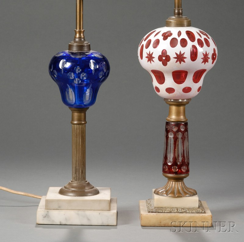 Two Cut Overlay Glass, Brass, and Marble Table Lamps