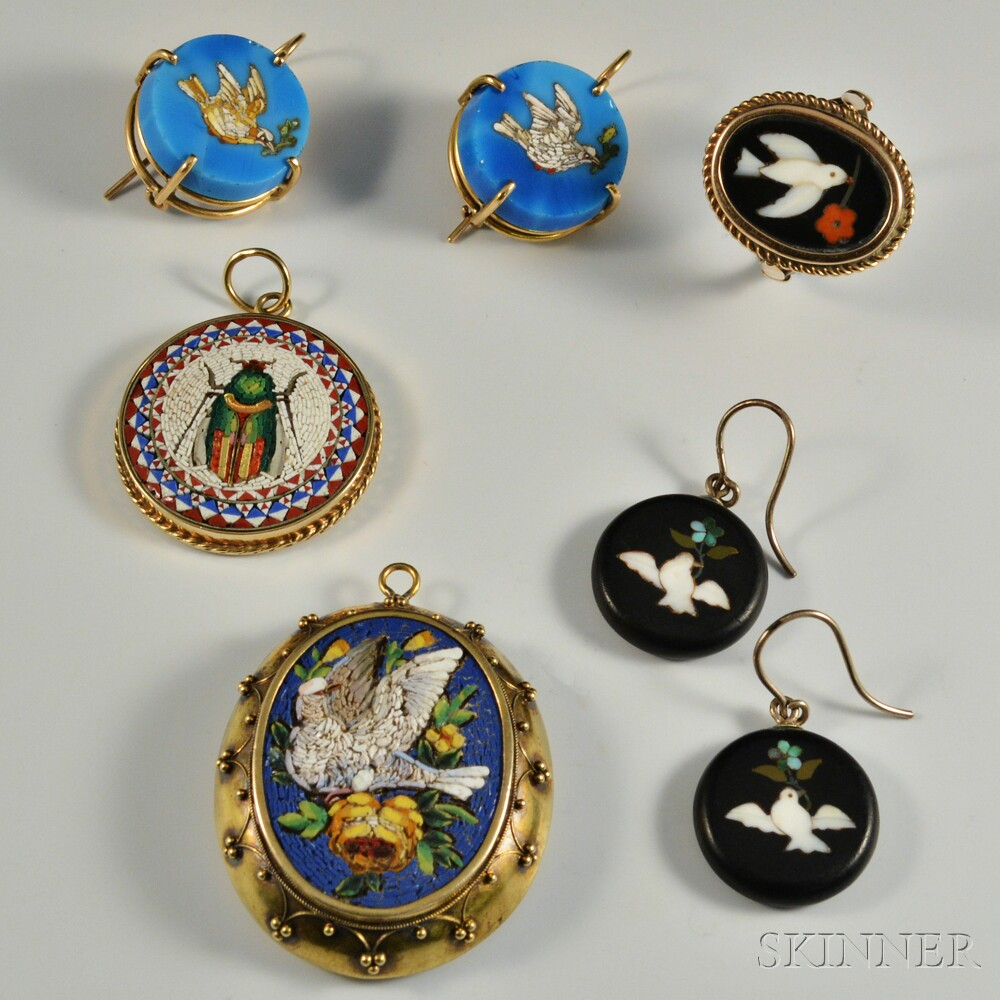 Group of 14kt Gold Micromosaic and Pietra Dura Jewelry