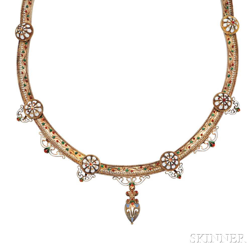 Renaissance Revival Gold and Enamel Necklace