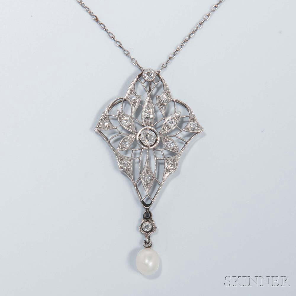Edwardian Platinum and Diamond Openwork Pendant