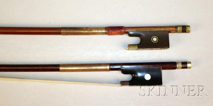 Two Nickel Mounted Violin Bows
