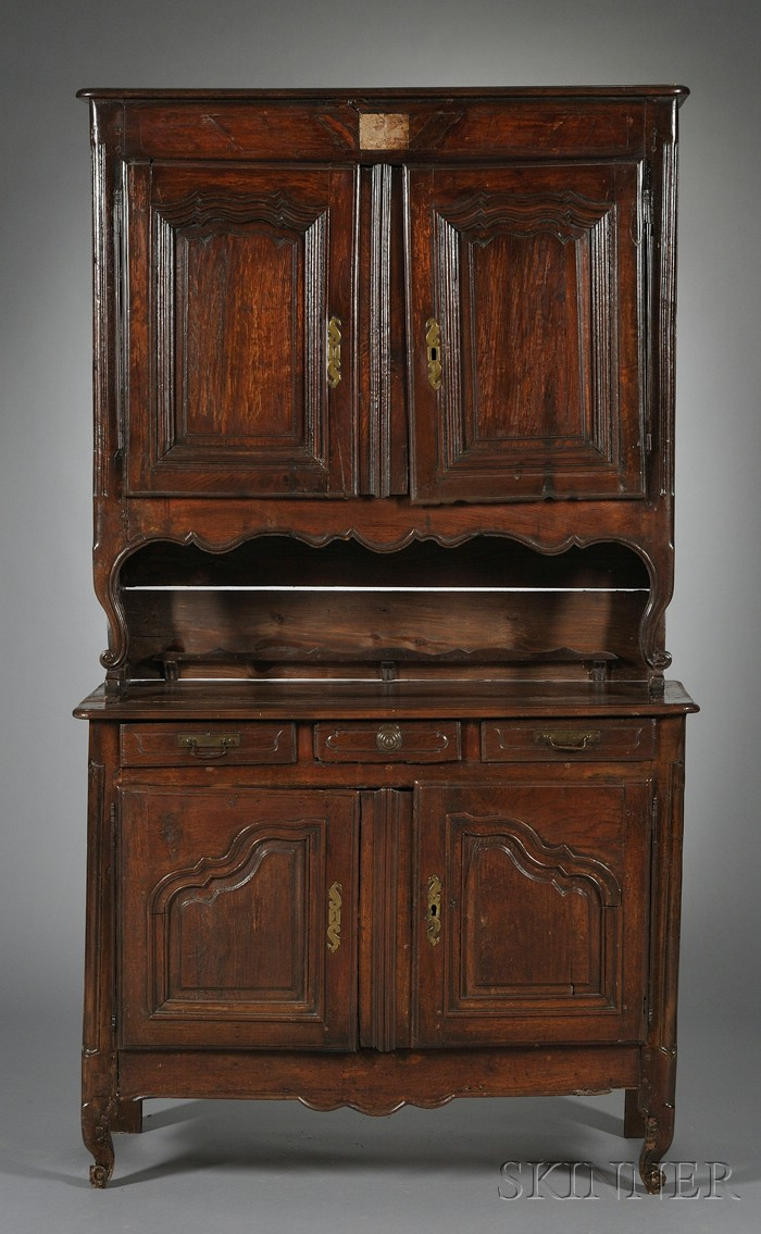 Louis XV Provincial Oak and Fruitwood Buffet a' Deux Corps