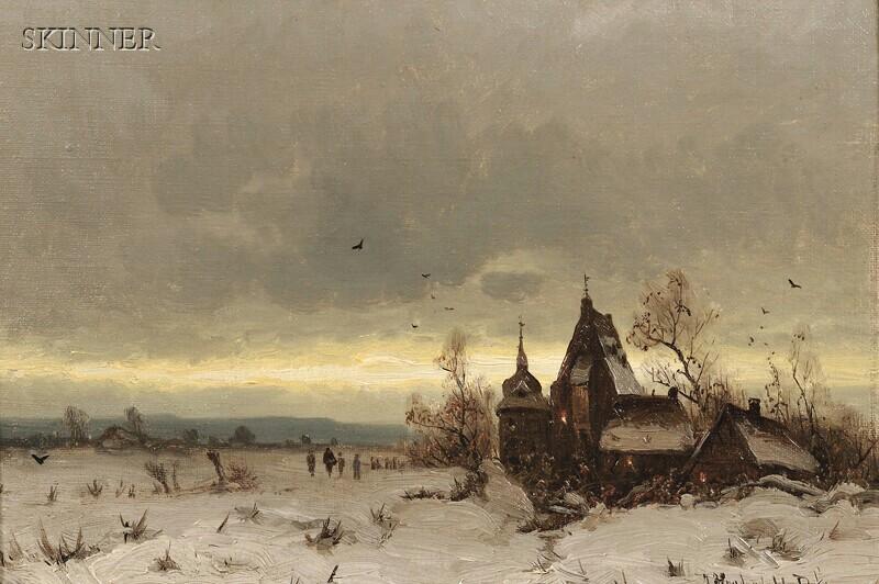 Friedrich Josef Nicolai Heydendahl (German, 1844-1906)      Kapelle am Winterabend