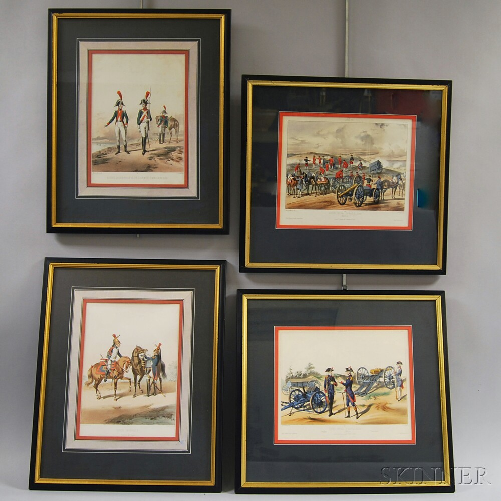 After Alfred de Marbot (French, 19th Century)      Four Framed Military Scenes: Corps Royal d'Artillerie - Officier