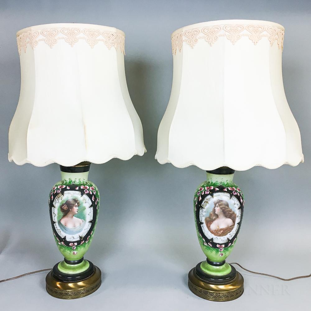Pair of Porcelain Portrait Vases