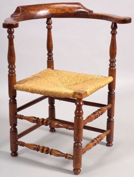 Turned Tiger Maple and Ash Roundabout Chair