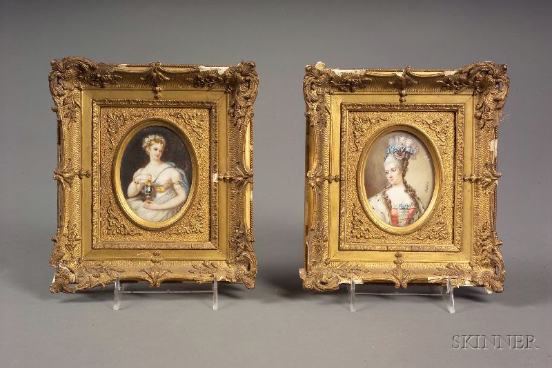 Two Continental Framed Miniatures on Ivory