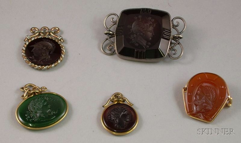 Three Victorian Carved and Molded Glass Intaglio/Cameo Fobs and Two Brooches.