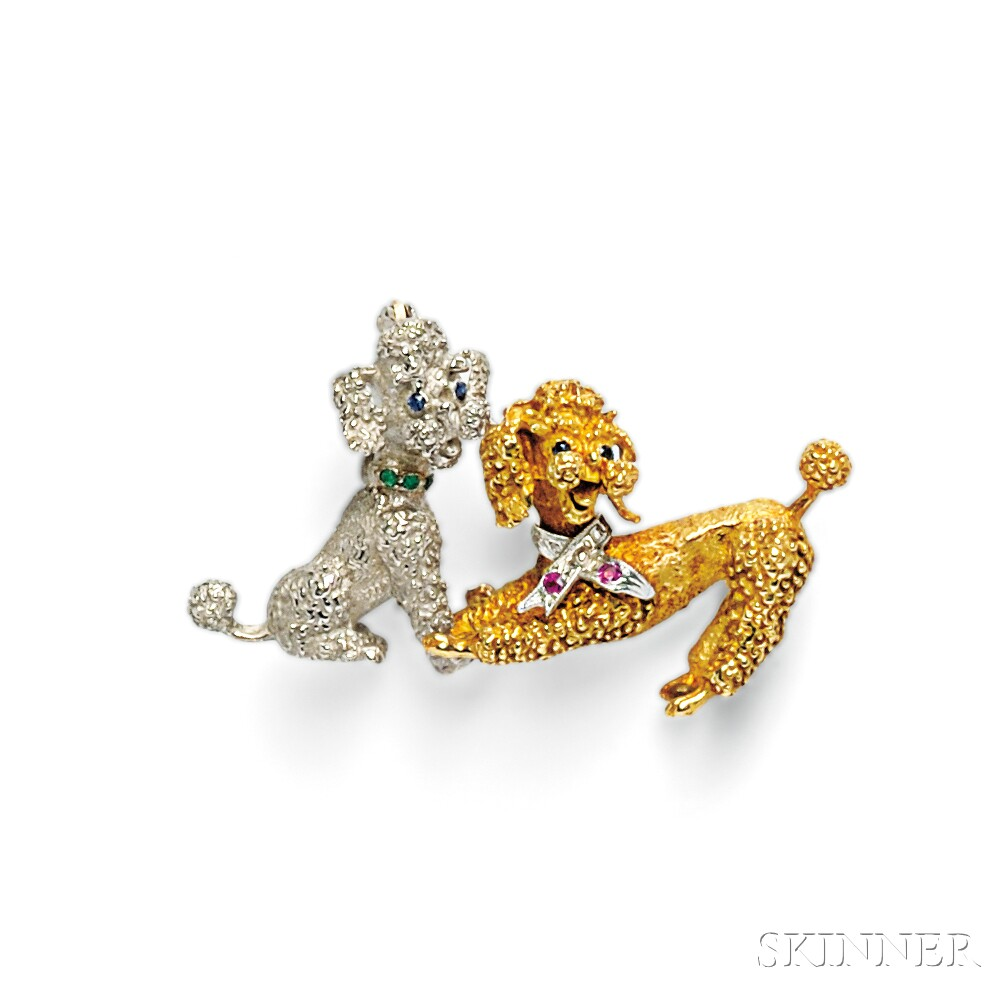 Two Gold Gem-set Poodle Brooches