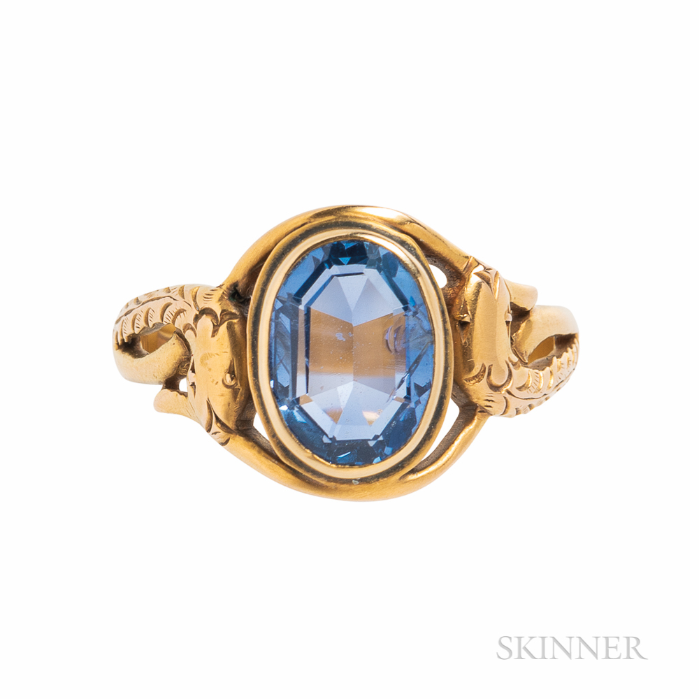 14kt Gold and Sapphire Snake Ring