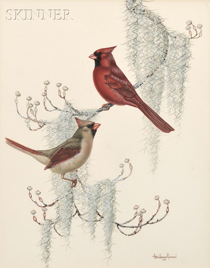 Anne Worsham Richardson  (American, b. 1922)      Lot of Two Works: Cardinals