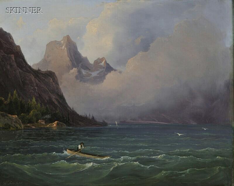 Wilhelm Steinfeld (Austrian, 1816-1854)      Storm over a Mountain Lake