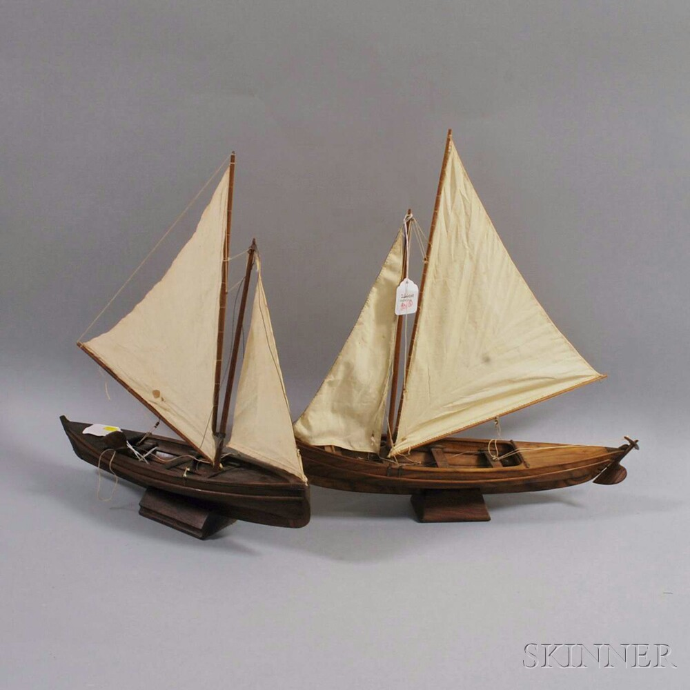 Two Wooden Melanesian Sailboat Models