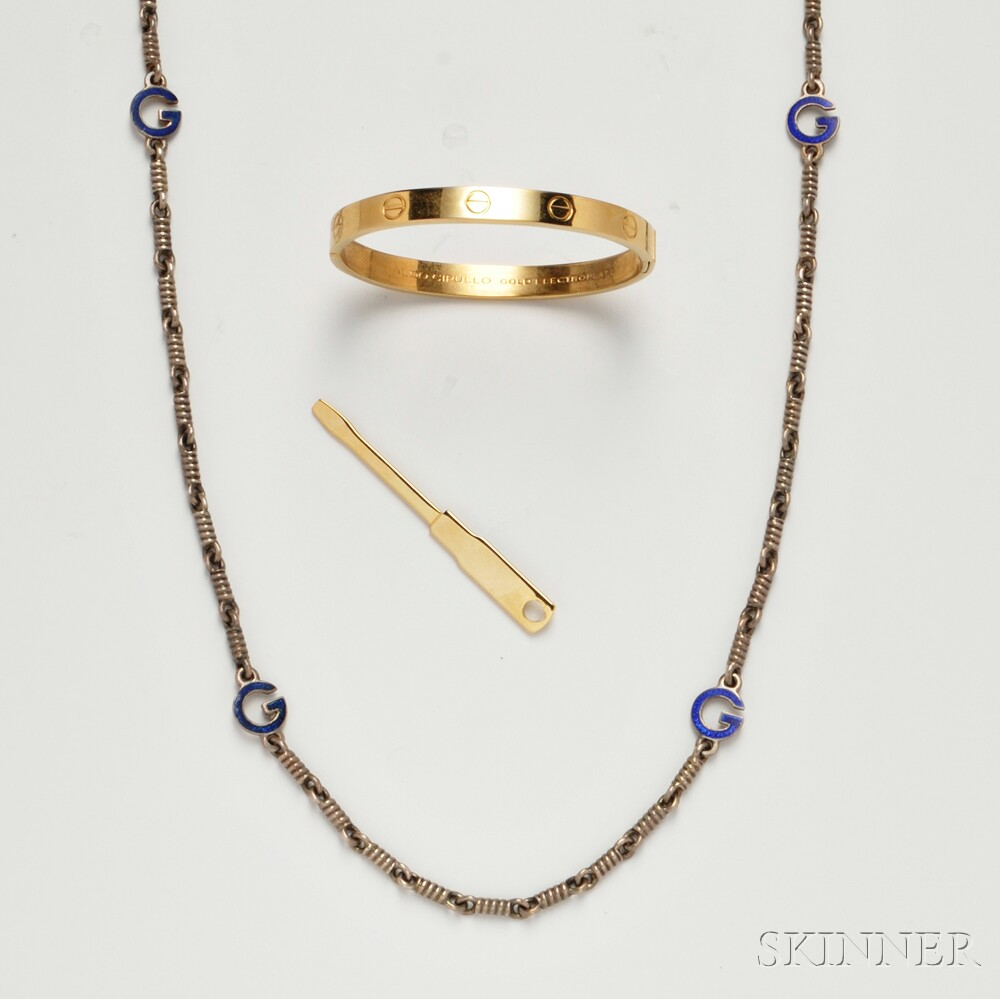 Gucci Silver and Enamel Necklace and a Charles Revson Bracelet
