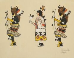 Thomas Virgil (Pan Yo Pin, Summer Mountain) (Native American, Tesuque Pueblo, 1889-1  960)Pueblo Dancers.