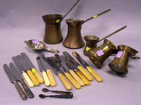 Five Brass Sauce Pots and a Group of Ivorene and Silver Plated Knives, Etc.