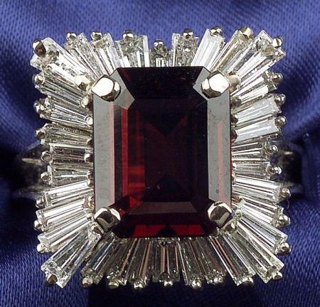 Garnet and Diamond Ballerina Ring
