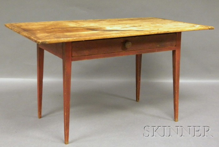 Breadboard-top Red-painted Pine Table with Drawer