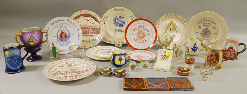 Large Group of Assorted Masonic Ceramic and Glassware