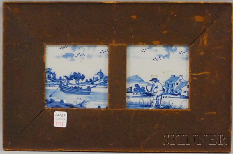 Two Delft Cobalt-decorated Pottery Tiles