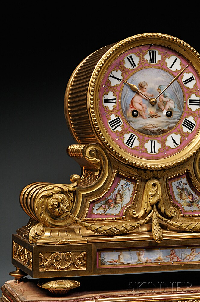 Gilt Bronze and Enamel Tambour No. 1 Mantel Clock