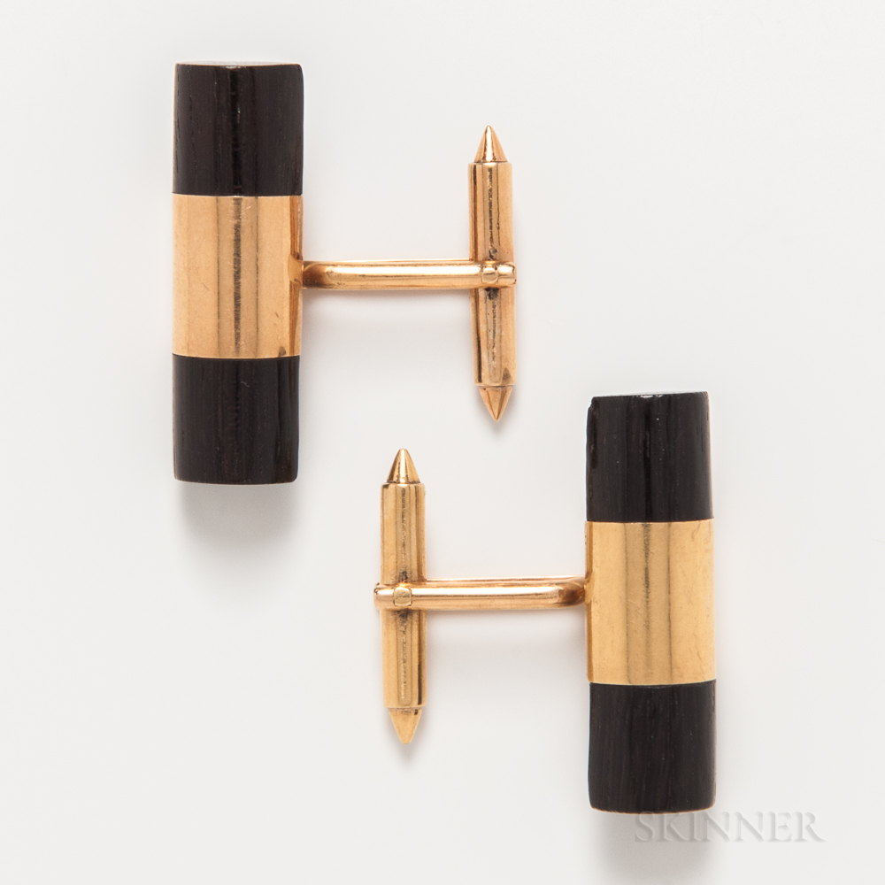 William Spratling 18kt Gold and Rosewood Cuff Links