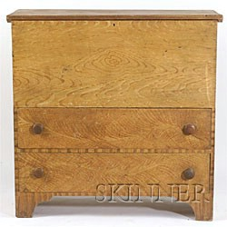 Grain Painted Pine Chest over Drawer,