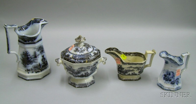 Mulberry Transfer Decorated Ironstone Covered Sauce Tureen, Two Jugs, and a Sauceboat.