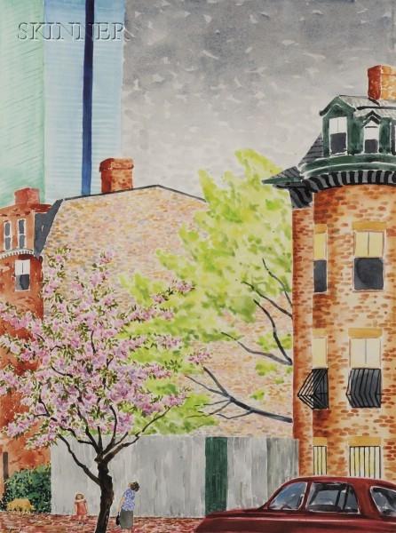 Paul T. Nagano (American, b. 1938)      Admiring the Cherry Tree-South End