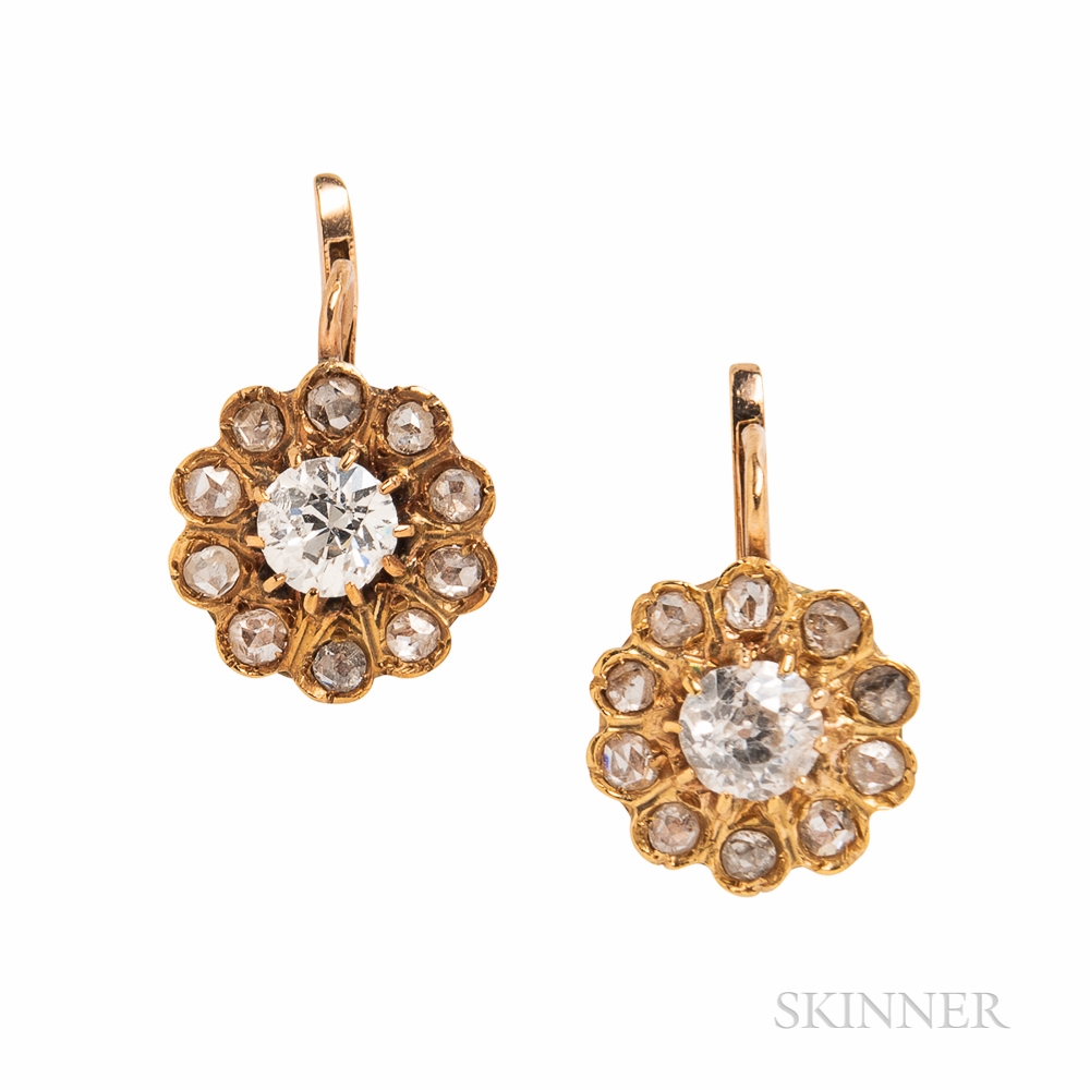 Antique Gold and Diamond Earrings
