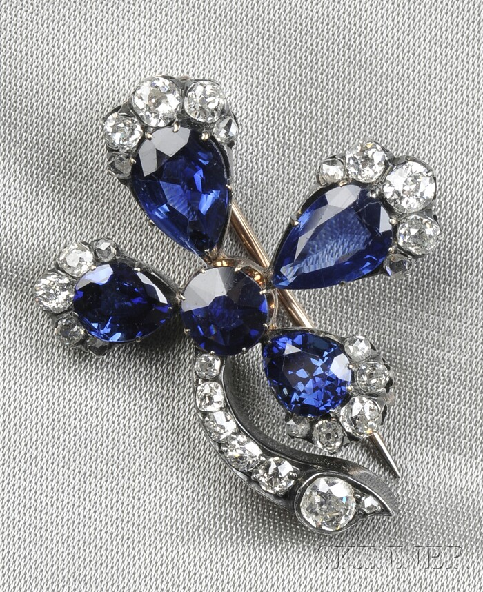 Antique Sapphire and Diamond Clover Brooch