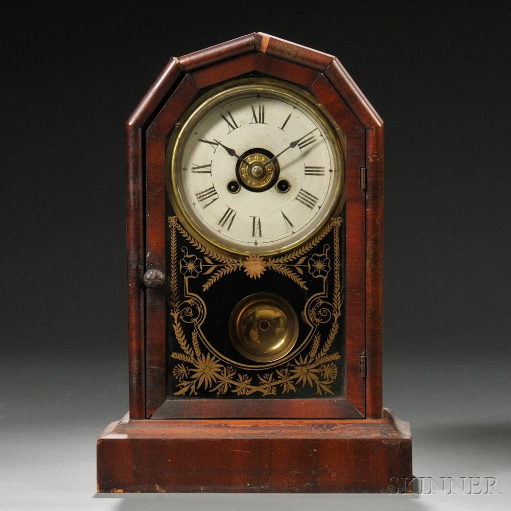 Mahogany Veneered Time and Alarm Shelf Clock