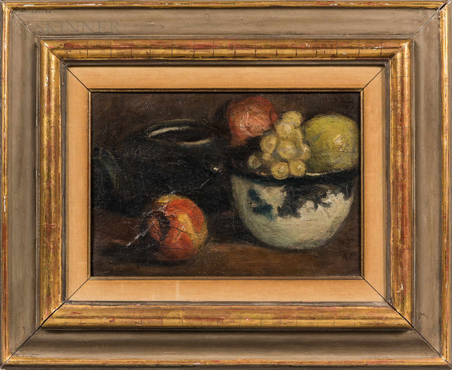 American School, 20th Century      Still Life with Fruit, Bowl, and Kettle.
