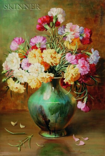 Emily Harris McGary Selinger (American, 1848-1927)    Bouquet of Carnations