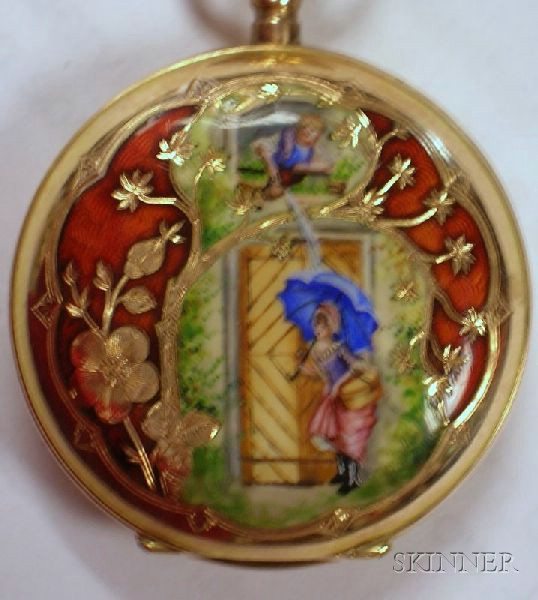 14kt Gold and Enamel Decorated Ladys Pocket Watch.