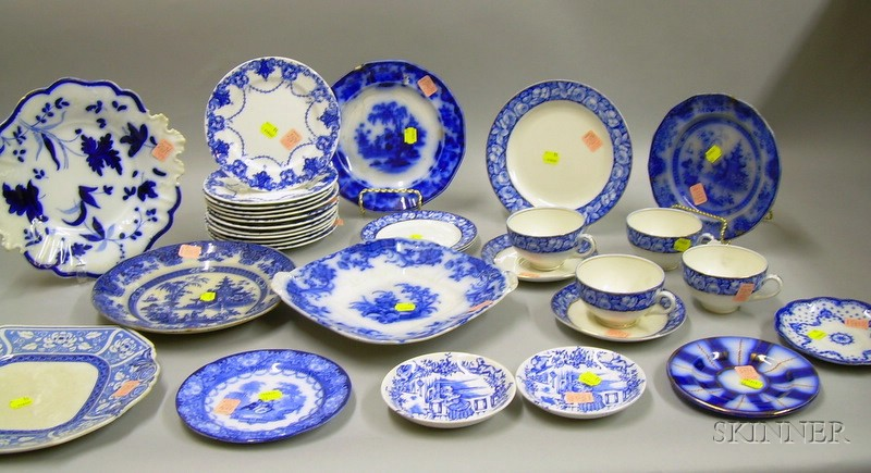 Approximately Thirty Pieces of Assorted Blue and White Transfer Staffordshire   Tableware