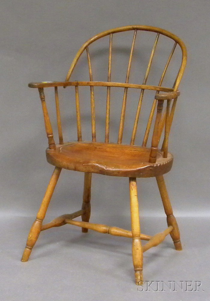 Windsor Ash, Pine, and Maple Sack-back Armchair