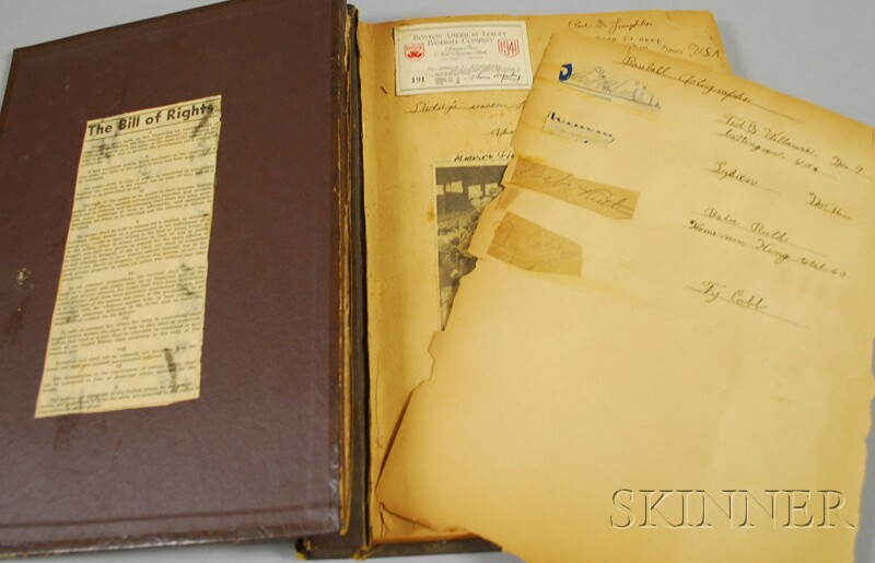 Album with Ted Williams, Babe Ruth, Ty Cobb Autographs and Boston Sports   Collectibles