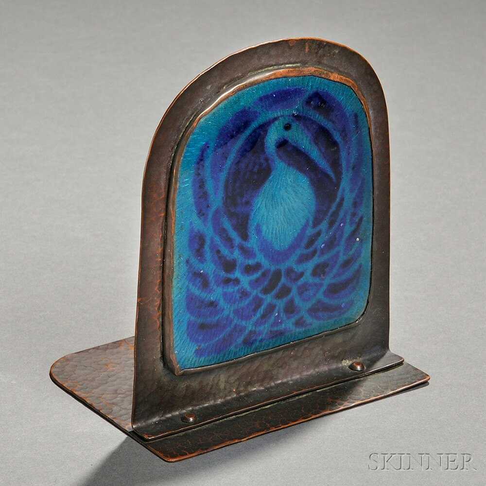 Bronze and Enameled Bookend Attributed to Rebecca Cauman