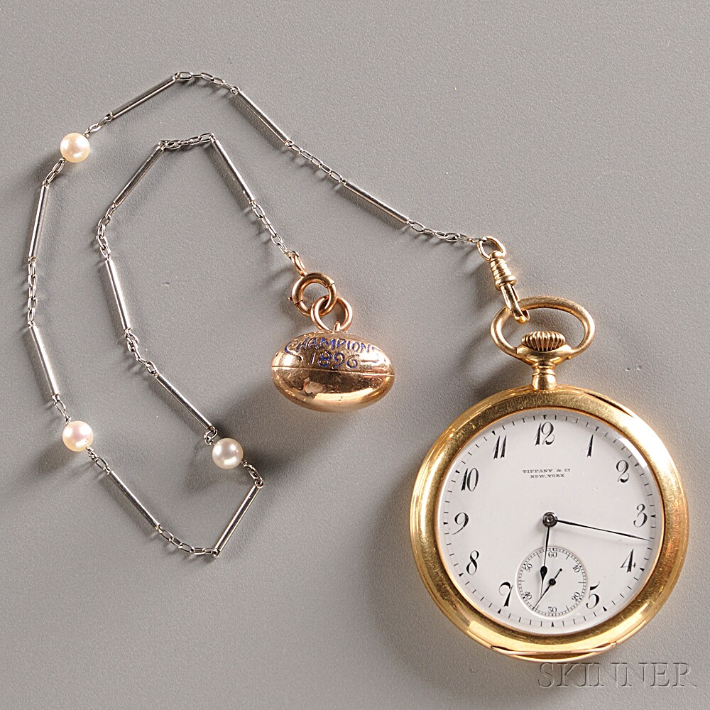 Tiffany 18kt Yellow Gold Open Face Pocket Watch