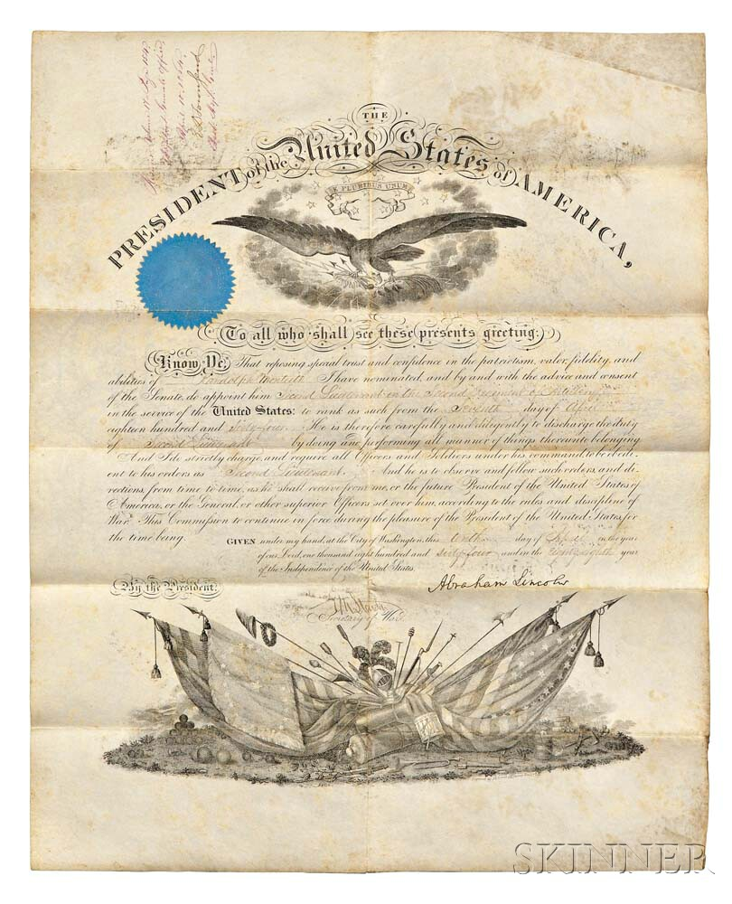 Lincoln, Abraham (1809-1865) Military Appointment Document Signed, 10 April 1864.