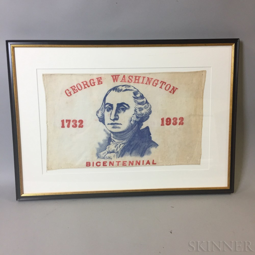 Framed Patriotic George Washington Bicentennial Textile